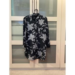TOPSHOP Navy Floral Collared Long Sleeve Dress